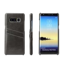 Fierre Shann Retro olie Wax textuur PU lederen Case voor Galaxy Note 8  met Slots(Black) van de kaart