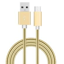 1m USB-C / Type-C Male 3.1 naar USB 2.0 mannelijke Data Sync laad Metal Wire voorjaar Kabel  Voor Samsung Galaxy S8 & S8 + / LG G6 / Huawei P10 & P10 Plus / Xiaomi Mi6 & Max 2 nl andere Smartphones(Goud)
