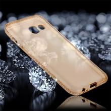 Voor Galaxy A7 (2017) Encrusted Diamond transparante zachte TPU beschermende Back Cover Case (goud)
