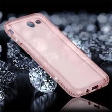 Voor Galaxy J3 (2017) Encrusted (Amerikaanse versie) Diamond transparante zachte TPU beschermende achtercover Case (roze)