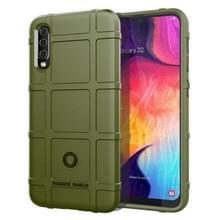 Schokbestendige ruige Shield volledige beschermende siliconen case voor Galaxy A50 (Army Green)