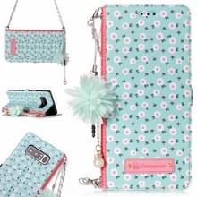 Voor Galaxy Note 8 Daisy bloem patroon horizontale Flip lederen draagtas met houder & kaartsleuven & parelmoer bloem Ornament & keten