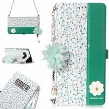 Voor Galaxy Note 8 orchideebloem patroon horizontale Flip lederen draagtas met houder & kaartsleuven & parelmoer bloem Ornament & keten