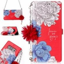 Voor Galaxy Note 8 rode achtergrond chrysant patroon horizontale Flip lederen draagtas met houder & kaartsleuven & parelmoer bloem Ornament & keten