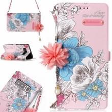 Opmerking voor Galaxy 8 roze achtergrond blauw Rose patroon horizontale Flip lederen draagtas met houder & kaartsleuven & parelmoer bloem Ornament & keten