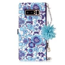 Opmerking voor Galaxy 8 blauw en wit porselein patroon horizontale Flip lederen draagtas met houder & Card Slots & Pearl Ornament & bloemenketting