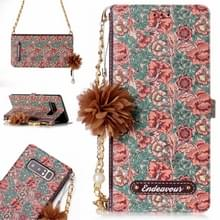 Voor Galaxy Note 8 Impatiens Balsamina patroon horizontale Flip lederen draagtas met houder & kaartsleuven & parelmoer bloem Ornament & keten