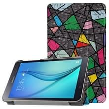 Voor Galaxy Tab een 8.0 kleur veelhoekige patroon horizontale vervorming Flip lederen draagtas met drie-vouwen houder