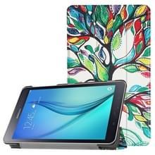 Voor Galaxy Tab een 8.0 geschilderde boom patroon horizontale vervorming Flip lederen draagtas met drie-vouwen houder