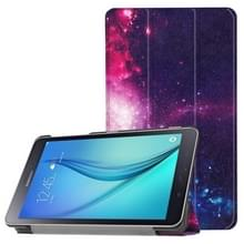 Voor Galaxy Tab een 8.0 kosmische Galaxy patroon horizontale vervorming Flip lederen draagtas met drie-vouwen houder