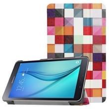 Voor Galaxy Tab een 8.0 kleurrijke vak patroon horizontale vervorming Flip lederen draagtas met drie-vouwen houder