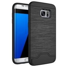 Voor Samsung Galaxy S7 Edge / G935 Geborstelde structuur scheidbaar TPU + PC combinatie rug hoesje met opbergruimte voor pinpassen & houder(zwart)