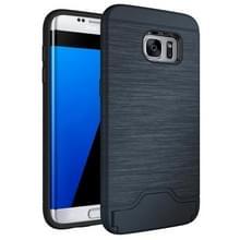 Voor Samsung Galaxy S7 Edge / G935 Geborstelde structuur scheidbaar TPU + PC combinatie rug hoesje met opbergruimte voor pinpassen & houder (donker blauw)
