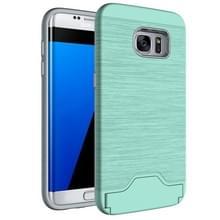 Voor Samsung Galaxy S7 Edge / G935 Geborstelde structuur scheidbaar TPU + PC combinatie rug hoesje met opbergruimte voor pinpassen & houder(groen)