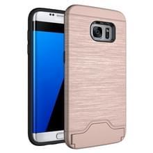 Voor Samsung Galaxy S7 Edge / G935 Geborstelde structuur scheidbaar TPU + PC combinatie rug hoesje met opbergruimte voor pinpassen & houder (Rose Goud)