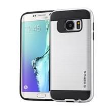 Samsung Galaxy S6 Edge / G925 Geborstelde structuur beschermend TPU + kunststof VERUS back cover Hoesje (zilverkleurig)