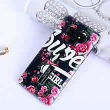 Bloemen patroon reliëf geschilderd TPU + PC geval met houder voor Galaxy Note9 (bloemen en zwarte achtergrond)