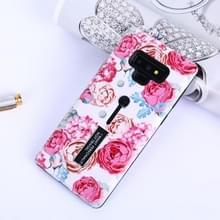 Bloemen patroon reliëf geschilderd TPU + PC geval met houder voor Galaxy Note9 (Peony)