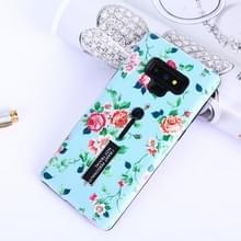 Bloemen patroon reliëf geschilderd TPU + PC geval met houder voor Galaxy Note9 (Chinese Rose en blauwe backgroud)