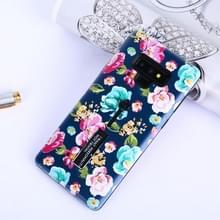 Flowers Pattern Embossed Painted TPU + PC Case with Holder for Galaxy Note9(Chinese Rose and Dark Blue Backgroud)