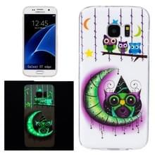 Samsung Galaxy S7 Edge / G935 oplichtend Kleurrijk uilen patroon TPU back cover Hoesje