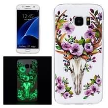 Samsung Galaxy S7 Edge / G935 oplichtend Kleurrijk hert met gewei patroon TPU back cover Hoesje