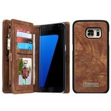 Samsung Galaxy S7 Edge / G935 horizontaal multifunctioneel PU leren CaseMe Flip Hoesje met magnetisch verbonden afneembaar back cover  foto frame en opbergruimte voor pinpassen & geld (koffie kleur)