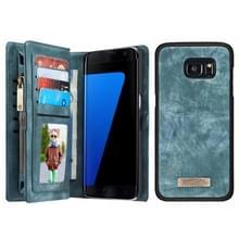 Samsung Galaxy S7 Edge / G935 horizontaal multifunctioneel PU leren CaseMe Flip Hoesje met magnetisch verbonden afneembaar back cover  foto frame en opbergruimte voor pinpassen & geld (groen)