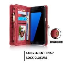 Samsung Galaxy S7 Edge / G935 horizontaal multifunctioneel PU leren CaseMe Flip Hoesje met magnetisch verbonden afneembaar back cover  foto frame en opbergruimte voor pinpassen & geld (rood)