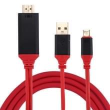 USB-C Type-C naar HDMI 30 Hz 4K & 2K Converter Kabel met Smart Power  geschikt voor MacBook  Samsung Galaxy S8 & S8 PLUS  Huawei Matebook  LG G6/5 en andere Smartphones  Lengte: 2 Meter (rood)