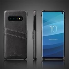 Fierre Shann Retro olie Wax textuur PU lederen Case voor Galaxy S10 Plus  met Card Slots (zwart)