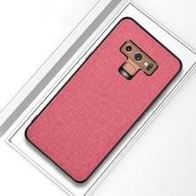 Schokbestendige doek textuur PC + TPU beschermhoes voor Galaxy Note9 (roze)