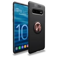 Lenuo schokbestendig TPU Case voor Galaxy S10 PLUS  met onzichtbare houder (zwart goud)