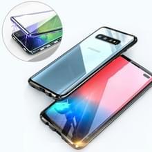 UltUltra slanke dubbele zijden magnetische adsorptie hoekige frame getemperd glas magneet flip case voor Galaxy S10 PLUS (zwart)