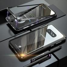 UltUltra slanke dubbele zijden magnetische adsorptie hoekige frame getemperd glas magneet flip case voor Galaxy S10e (zwart)