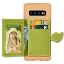 Blad magnetische module Litchi textuur TPU beschermende case voor Galaxy S10  met kaartsleuven & houder & portemonnee (bruin)