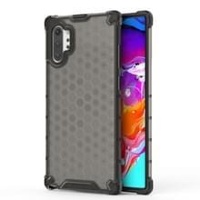 Schokbestendige honingraat PC + TPU Case voor Galaxy Note 10 + (zwart)