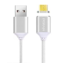 POFAN P11 1m 2A magnetische Micro USB naar USB-golf stijl Data Sync laad Kabel met LED licht, Voor Samsung, HTC, Sony, Huawei, Xiaomi, Meizu, CE / FCC / RoHS-Certificated(zilver)