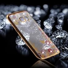 Samsung Galaxy S7 Edge Bloemen patroon met nep diamanten ingelegd gegalvaniseerd TPU back cover Hoesje (goudkleurig)