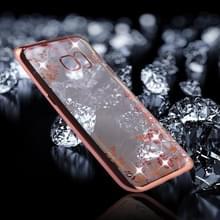 Samsung Galaxy S7 Edge Bloemen patroon met nep diamanten ingelegd gegalvaniseerd TPU back cover Hoesje (roze goudkleurig)