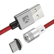 FLOVEME 1M 2A uitgang 360 graden casual USB naar USB-C/type-C magnetische oplaadkabel  ingebouwde blauwe LED-indicator  voor Samsung Galaxy S8 & S8 PLUS/LG G6/Huawei P10 & P10 plus/Oneplus 5 en andere smartphones (rood)