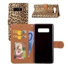 Voor Galaxy Note 8 Luipaard patroon horizontale Flip lederen draagtas met houder & kaartsleuven & portemonnee & fotolijstjes & Lanyard (goud)