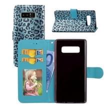 Voor Galaxy Note 8 Luipaard patroon horizontale Flip lederen draagtas met houder & kaartsleuven & portemonnee & fotolijstjes & Lanyard (blauw)