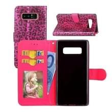 Voor Galaxy Note 8 Luipaard patroon horizontale Flip lederen draagtas met houder & kaartsleuven & portemonnee & fotolijstjes & Lanyard (rood)