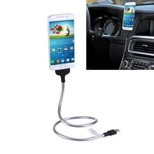 Multi functieele metaal Soft Slang Micro USB naar USB Data laad Kabel met flexibele Desk Dock auto dok function  Voor Samsung  HTC  Sony  Lenovo  en andere Smartphones(zilver)