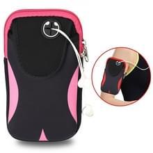 Multi-functionele sport armband waterdichte telefoon tas voor 5 inch scherm telefoon  grootte: M (zwart roze)