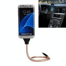 Multi functieele metaal Soft Slang Palm houder Micro USB naar USB Data laad Kabel met Flexible Desk / auto dok function  Voor Samsung  HTC  Sony  Lenovo  Huawei  nl andere Smartphones (Rose Goud)