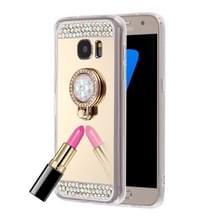 Opmerking voor Galaxy 5 / N920 diamant ingelegde galvaniseren spiegel beschermende Cover Case met verborgen ringhouder (goud)