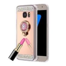 Samsung Galaxy S7 Edge gegalvaniseerd en spiegelend met nep diamanten ingelegd TPU back cover Hoesje met verborgen ring houder (roze goudkleurig)