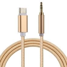1m golf stijl USB-C / Type-C Male naar 3.5mm mannelijke Audio Kabel  Voor Samsung Galaxy S8 & S8 PLUS / LG G6 / Huawei P10 & P10 Plus / Xiaomi Mi6 & Max 2 nl andere Smartphones(Goud)